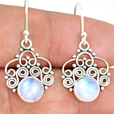 4.51cts natural rainbow moonstone 925 sterling silver dangle earrings r84138