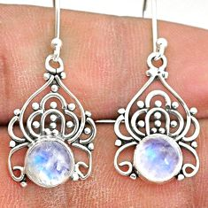 5.57cts natural rainbow moonstone 925 sterling silver dangle earrings r84721