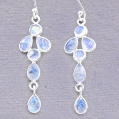 6.67cts natural rainbow moonstone 925 sterling silver dangle earrings t12554