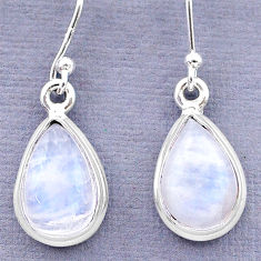 8.26cts natural rainbow moonstone 925 sterling silver dangle earrings t13954
