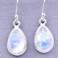 7.85cts natural rainbow moonstone 925 sterling silver dangle earrings t13960