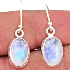 8.51cts natural rainbow moonstone 925 sterling silver dangle earrings t15940