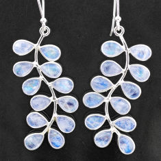 15.37cts natural rainbow moonstone 925 sterling silver dangle earrings t1758
