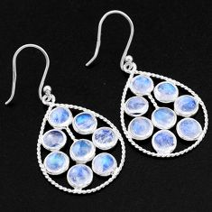 11.17cts natural rainbow moonstone 925 sterling silver dangle earrings t1789