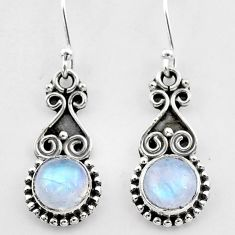 2.55cts natural rainbow moonstone 925 sterling silver dangle earrings t26930