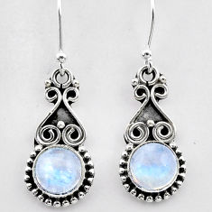 2.53cts natural rainbow moonstone 925 sterling silver dangle earrings t26934