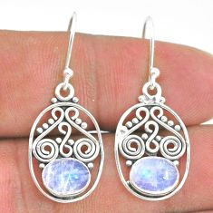 3.98cts natural rainbow moonstone 925 sterling silver dangle earrings t32838