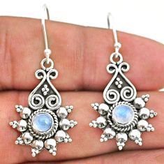 1.83cts natural rainbow moonstone 925 silver dangle earrings t34254