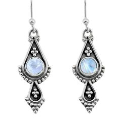 1.72cts natural rainbow moonstone 925 sterling silver dangle earrings t35938