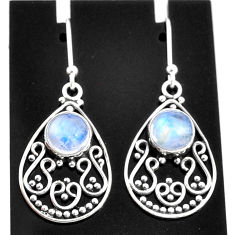 4.86cts natural rainbow moonstone 925 sterling silver dangle earrings t4043
