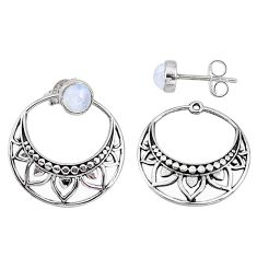 1.89cts natural rainbow moonstone 925 sterling silver dangle earrings t40899