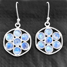 5.74cts natural rainbow moonstone 925 sterling silver dangle earrings t4613