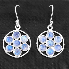 5.76cts natural rainbow moonstone 925 sterling silver dangle earrings t4615