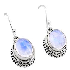 6.10cts natural rainbow moonstone 925 sterling silver dangle earrings t46839
