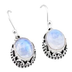 6.01cts natural rainbow moonstone 925 sterling silver dangle earrings t46859