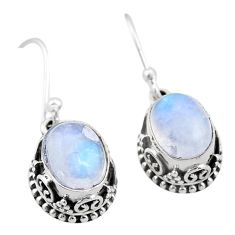 6.33cts natural rainbow moonstone 925 sterling silver dangle earrings t46860
