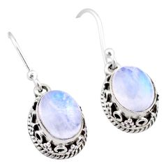 5.54cts natural rainbow moonstone 925 sterling silver dangle earrings t46876