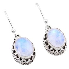 5.82cts natural rainbow moonstone 925 sterling silver dangle earrings t46877