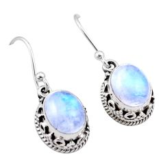 5.00cts natural rainbow moonstone 925 sterling silver dangle earrings t46879