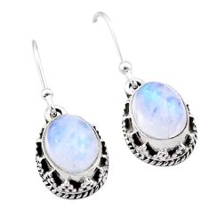 5.56cts natural rainbow moonstone 925 sterling silver dangle earrings t46895