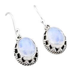 5.84cts natural rainbow moonstone 925 sterling silver dangle earrings t46900