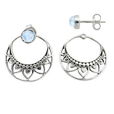 1.70cts natural rainbow moonstone 925 sterling silver dangle earrings t8257
