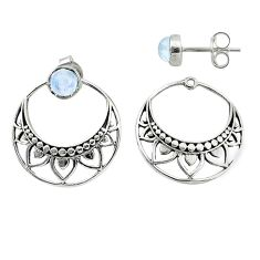 1.79cts natural rainbow moonstone 925 sterling silver dangle earrings t8259