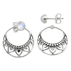 1.79cts natural rainbow moonstone 925 sterling silver dangle earrings t8270