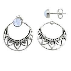 1.70cts natural rainbow moonstone 925 sterling silver dangle earrings t8273