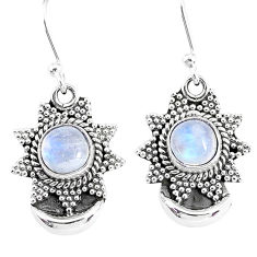 2.51cts natural rainbow moonstone 925 sterling silver dangle moon earring r89158