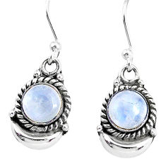 2.67cts natural rainbow moonstone 925 sterling silver dangle moon earring r89216