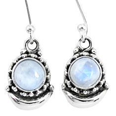 2.48cts natural rainbow moonstone 925 sterling silver dangle moon earring r89233