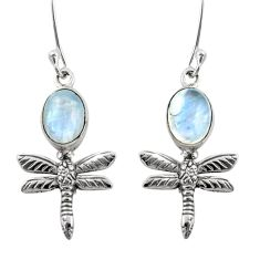 6.72cts natural rainbow moonstone 925 sterling silver dragonfly earrings d47577