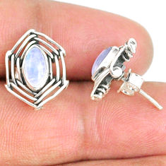 4.43cts natural rainbow moonstone 925 sterling silver earrings jewelry r67913