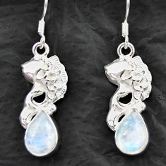 Clearance Sale- 6.03cts natural rainbow moonstone 925 sterling silver fish earrings d40554