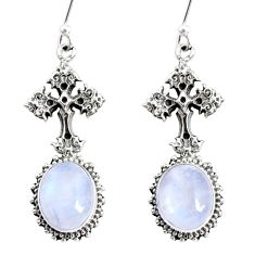 9.86cts natural rainbow moonstone 925 sterling silver holy cross earrings r66502
