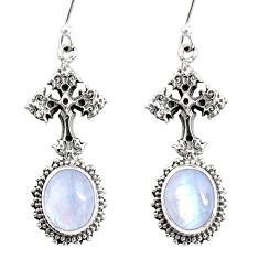 9.32cts natural rainbow moonstone 925 sterling silver holy cross earrings r66507
