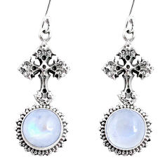 9.01cts natural rainbow moonstone 925 sterling silver holy cross earrings r66511