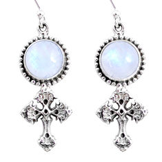 9.42cts natural rainbow moonstone 925 sterling silver holy cross earrings r66521