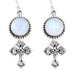 8.99cts natural rainbow moonstone 925 sterling silver holy cross earrings r66525