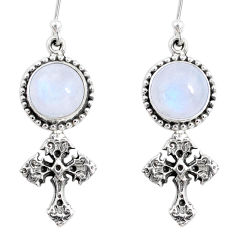 9.07cts natural rainbow moonstone 925 sterling silver holy cross earrings r66535