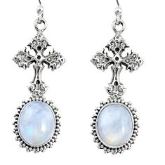 9.10cts natural rainbow moonstone 925 sterling silver holy cross earrings r74968