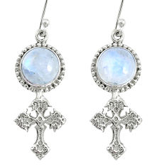 9.32cts natural rainbow moonstone 925 sterling silver holy cross earrings r74970