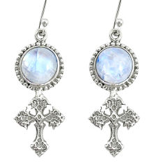 8.83cts natural rainbow moonstone 925 sterling silver holy cross earrings r74973