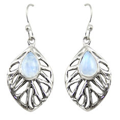 4.93cts natural rainbow moonstone 925 sterling silver leaf earrings r39199