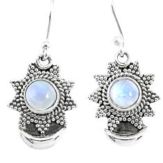 2.54cts natural rainbow moonstone 925 sterling silver moon earrings r89160