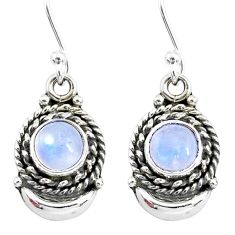 2.69cts natural rainbow moonstone 925 sterling silver moon earrings r89296