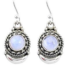 2.60cts natural rainbow moonstone 925 sterling silver moon earrings r89298