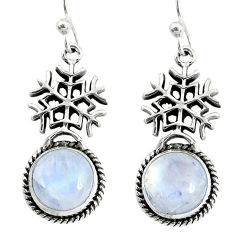 10.41cts natural rainbow moonstone 925 sterling silver snowflake earrings r74959