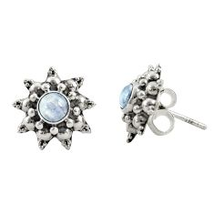 1.74cts natural rainbow moonstone 925 sterling silver stud earrings r22797